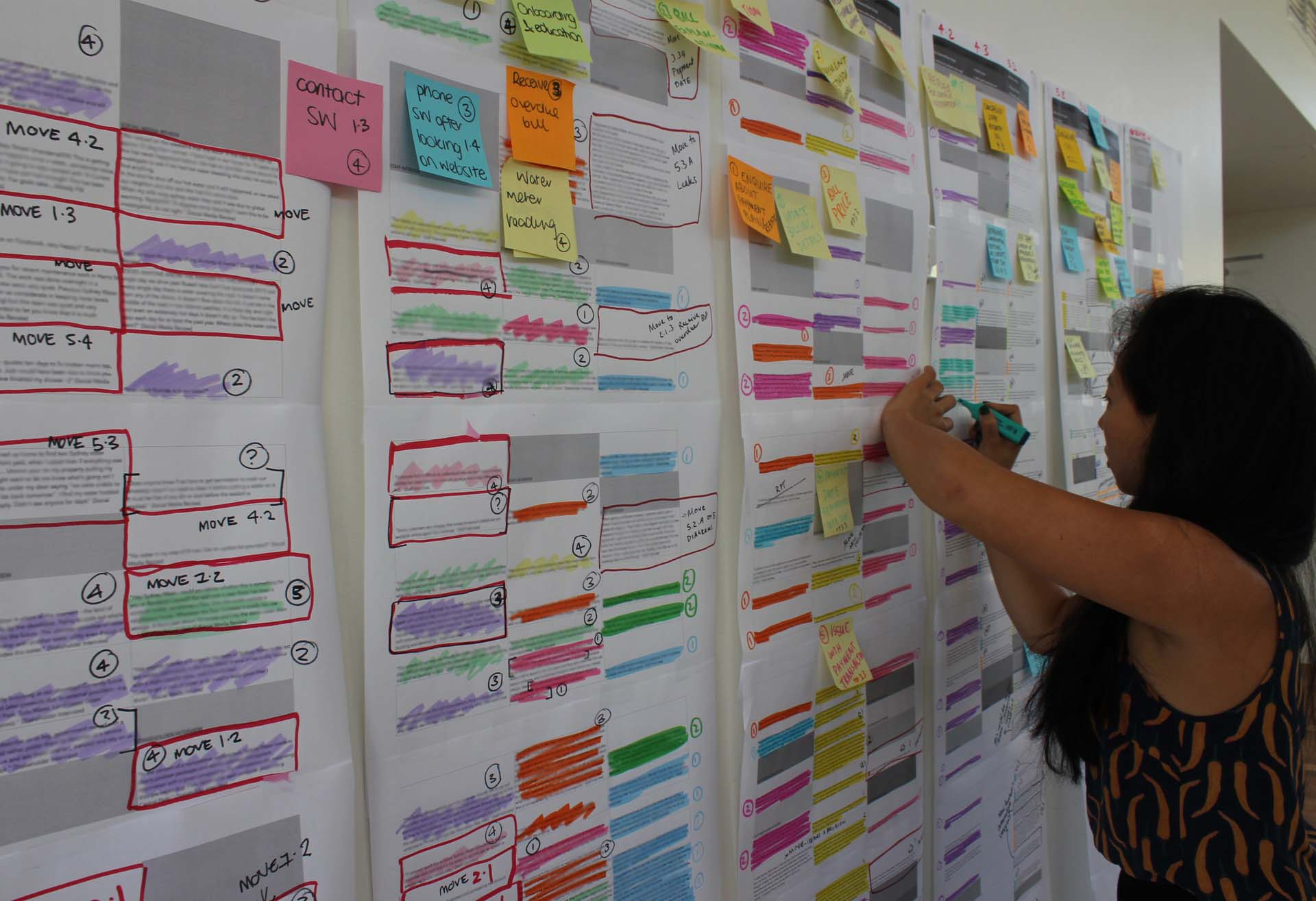 Proto experience designer making notes on a CX Strategy wall