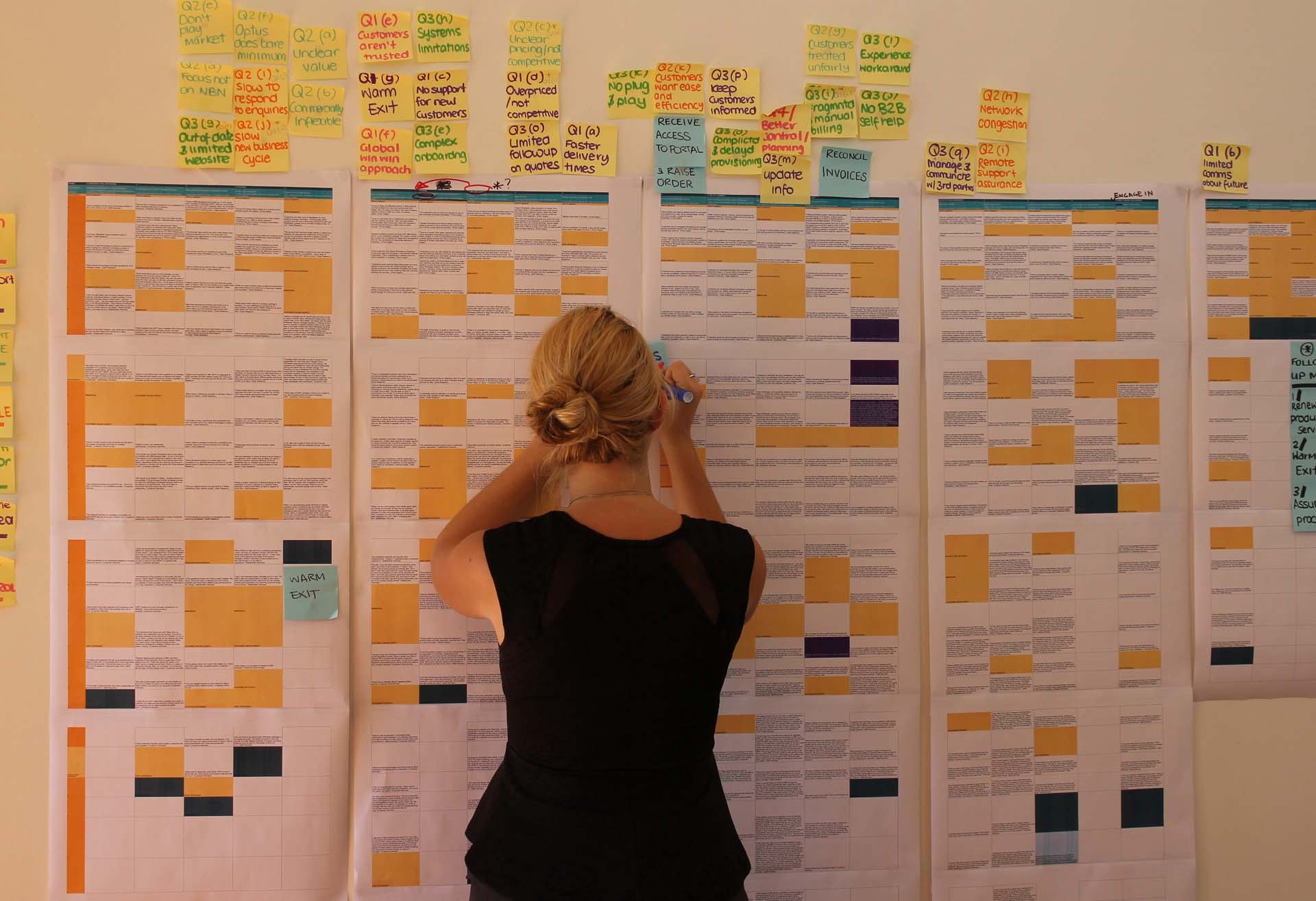 Proto experience designer working on a large wall of customer data