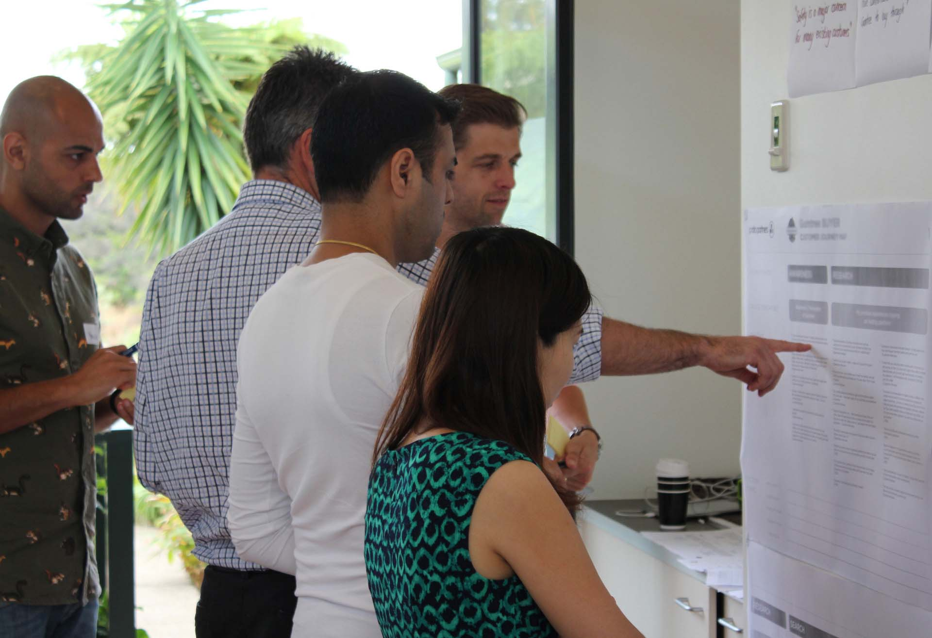 Proto employees engaged with a piece customer experience research