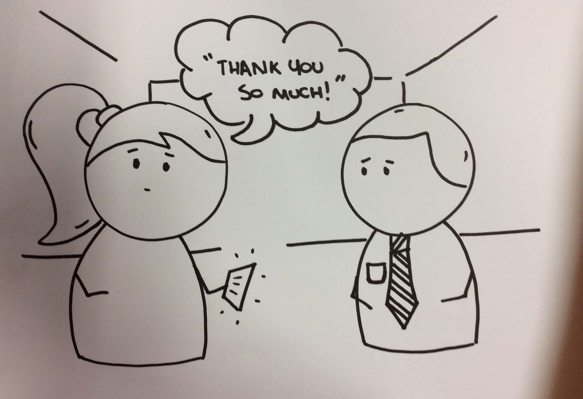 Cartoon graphic of a customer service interaction