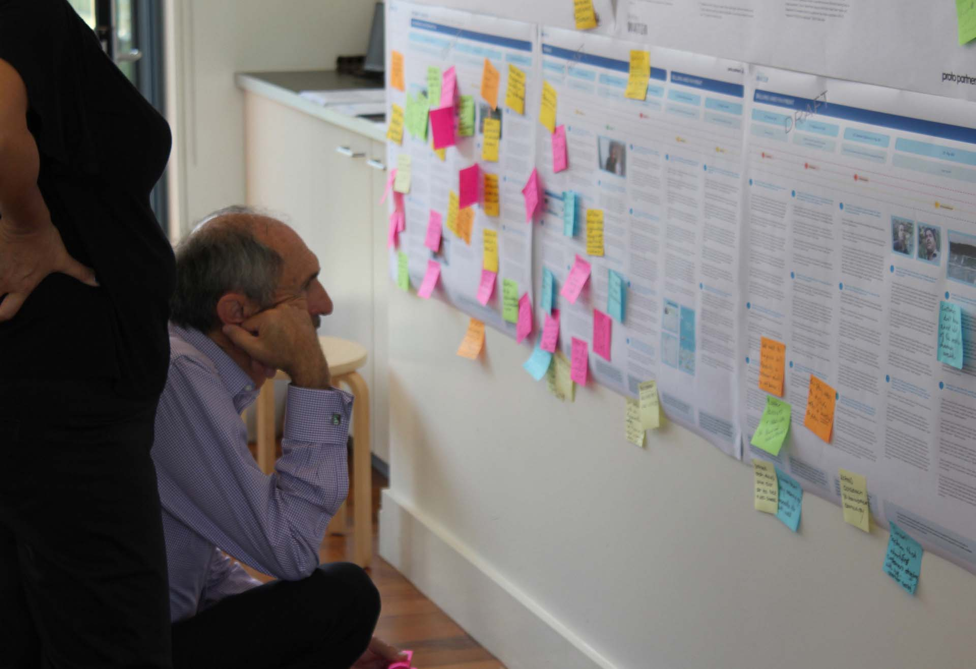 Man crouched reading Customer journey Map