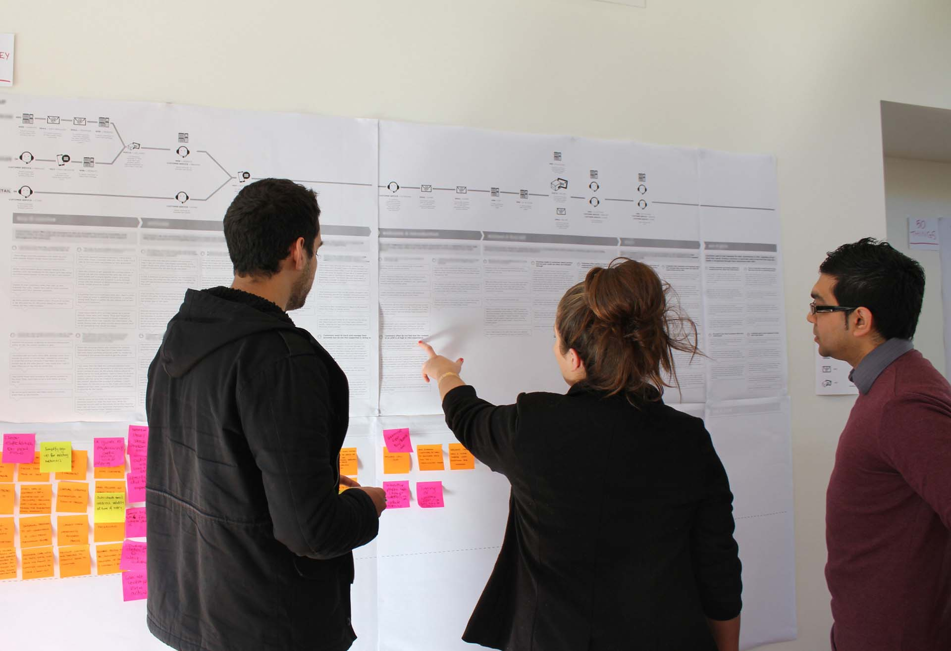 Three Proto employees looking at a Customer Brand Experience wall
