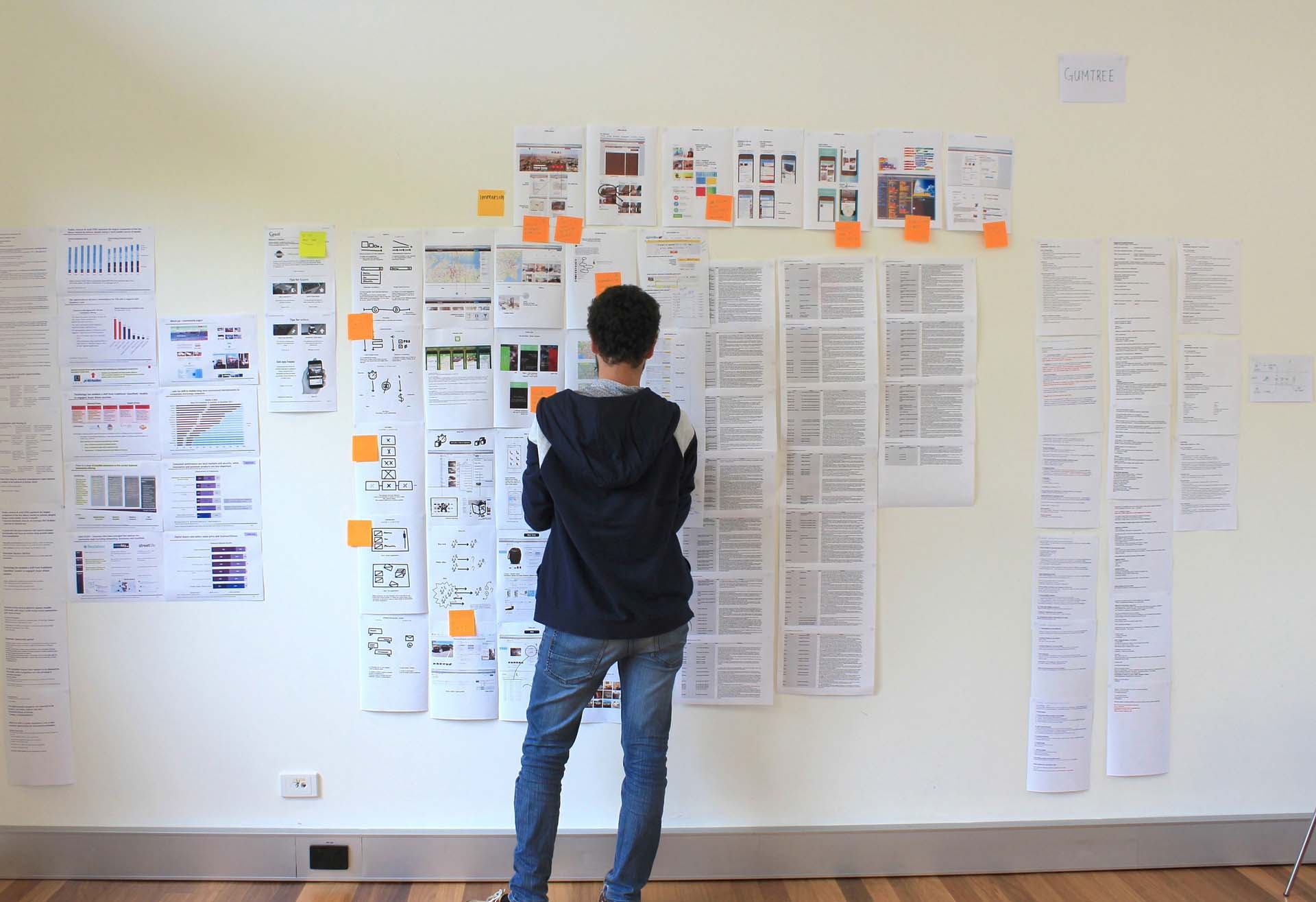 Man standing in front of a Proto Customer Journey Map wall