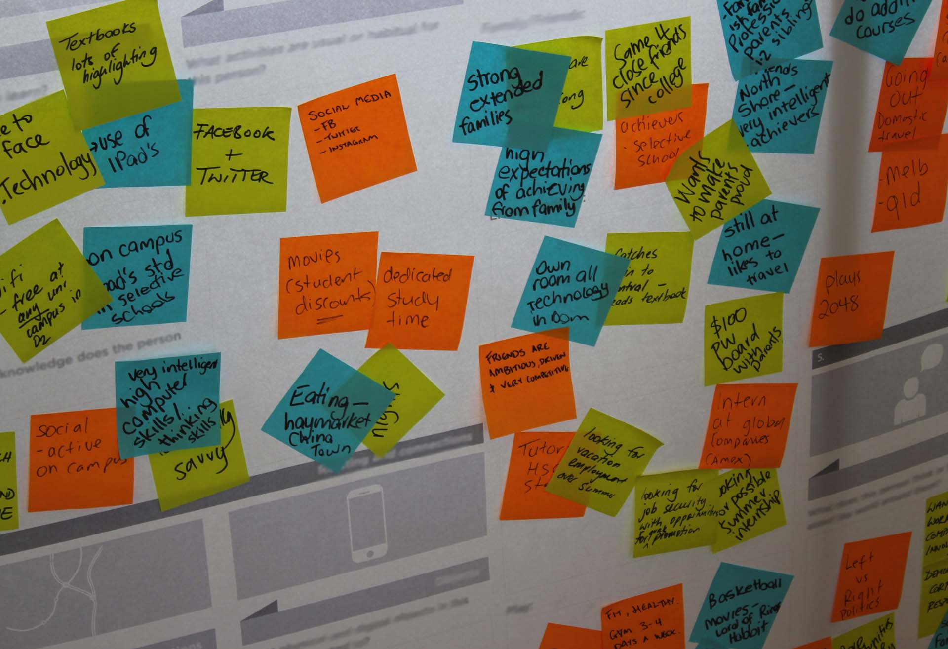 Colourful notes about customer experiences on a wall