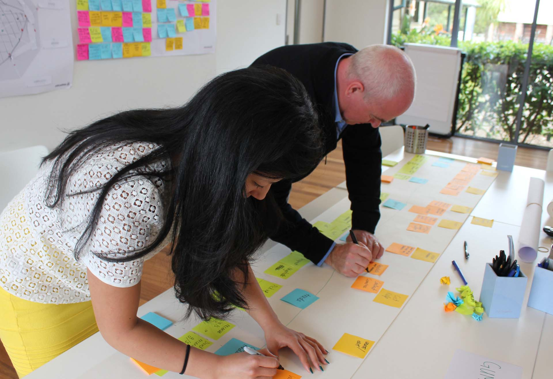 Two proto experience designers developing a customer journey map