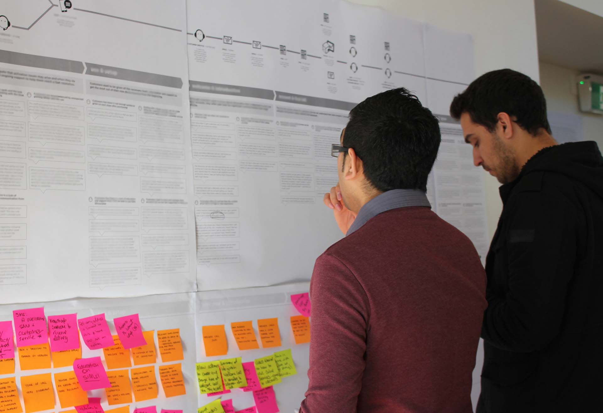 Two proto experience designers discussing a customer journey map