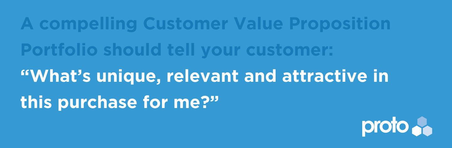A compelling Customer Value Proposition Portfolio should tell your customer: What's unique, relevant and attractive in this purchase for me?