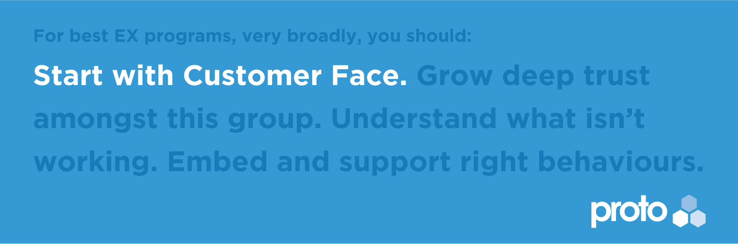 For best EX programs, very broadly, you should: Start with Customer Face. Grow deep trust amongst this group. Understand what isn't working. Embed and support right behaviours.