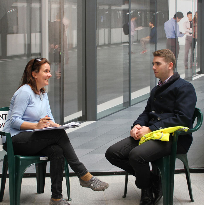 Sydney Metro employee being interviewed by Proto customer research expert