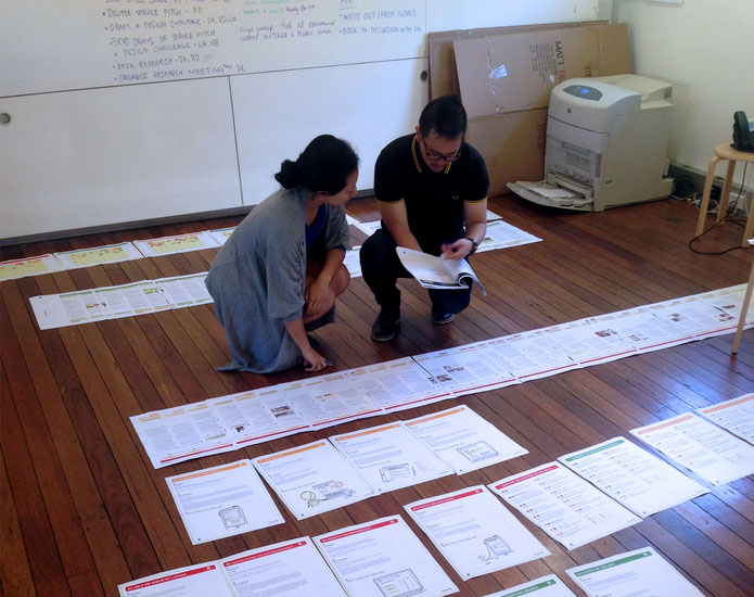 Gumtree and Proto going through large customer journey maps on the floor