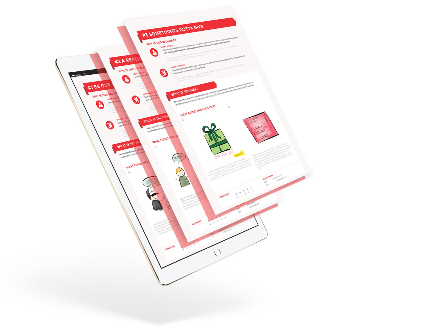 Hoyts insights and initiative cards displayed on an ipad through graphic illustration