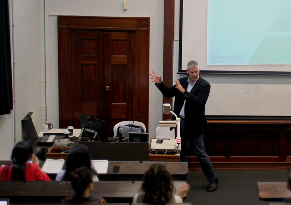 Damian talking at a Sydney University Lecture