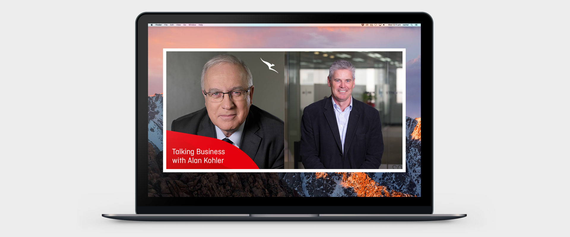 Alan Kohler and Damian Kernahan's images side-by-side on a laptop screen, showing them together in Alan's podcast; 'Talking Business'.