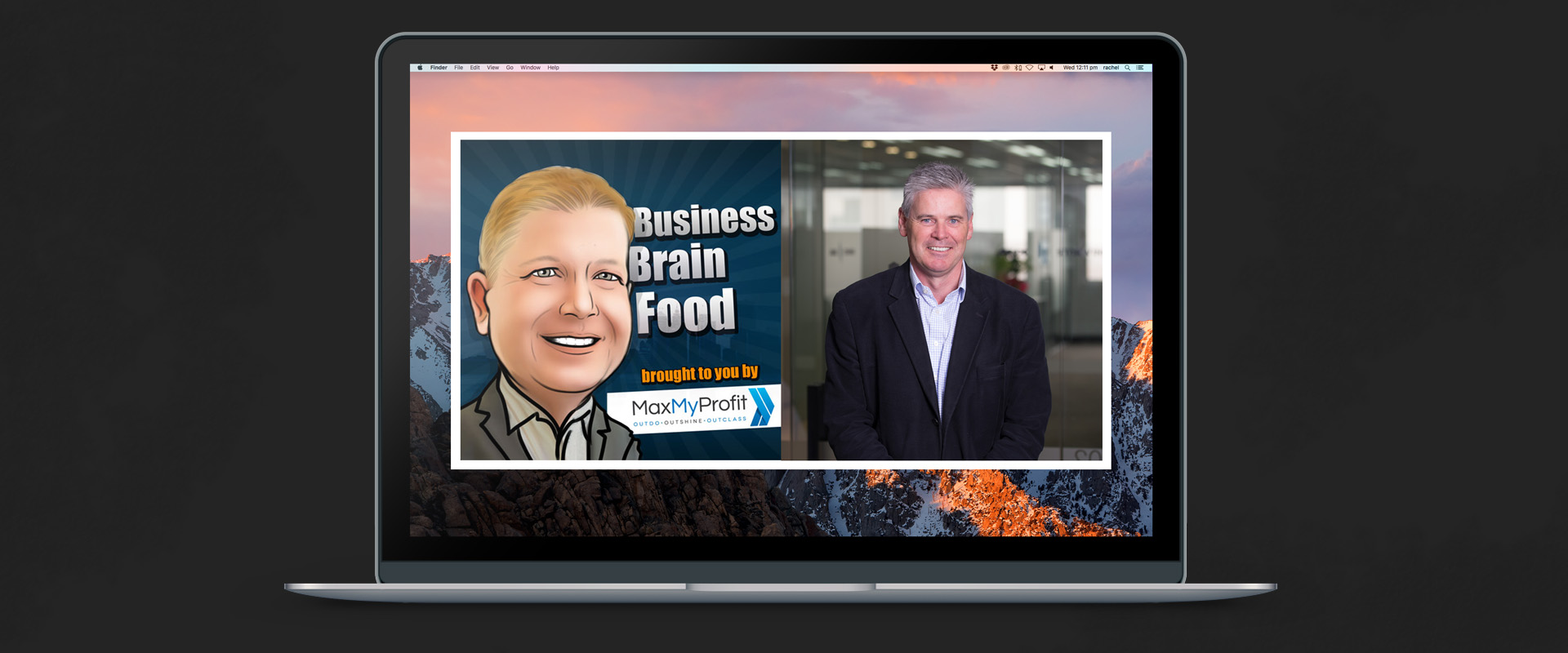 Business Brain Food's logo and Damian Kernahan's image side-by-side on a laptop screen, showing them together on Ben Fewtrell's Brainfood Podcast