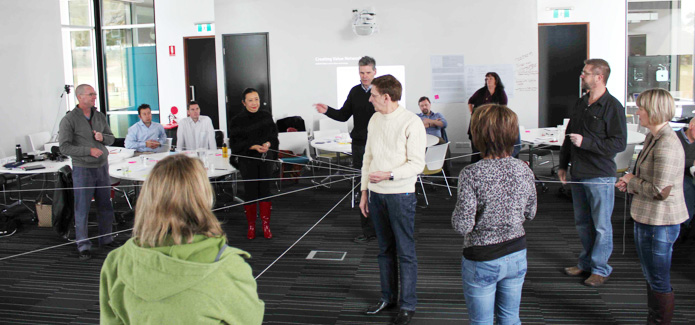 Conducting a hands-on activity at a client workshop