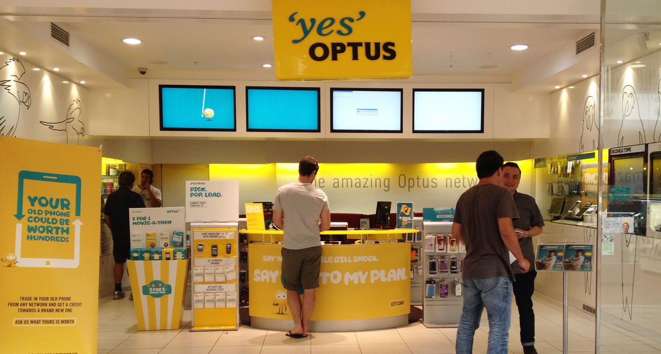 Optus shop with customers being served