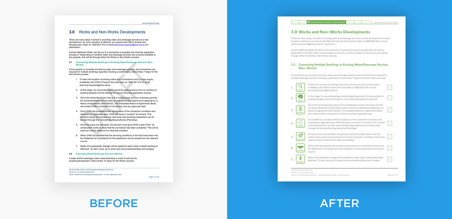 Before and after example of Proto's effective written communication design