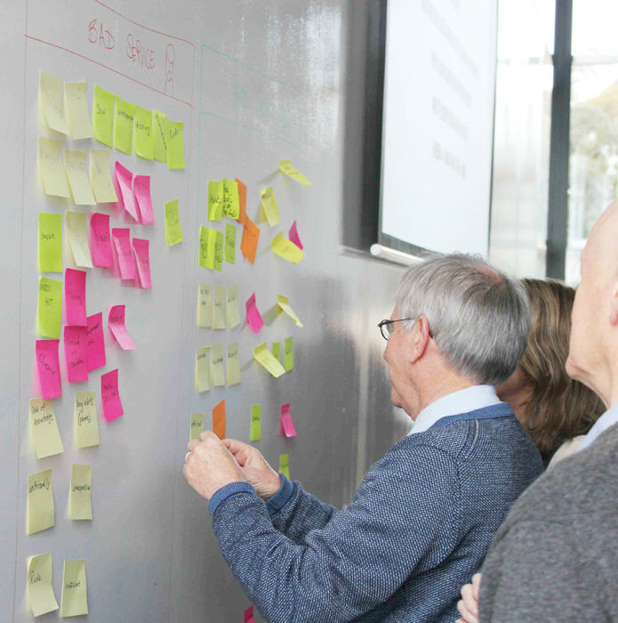 Customers putting post-it notes on the walls during workshop activity